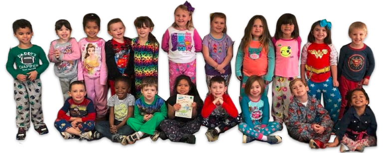 Group of preschoolers wearing cartoon inspired pajamas , hero, Disney and colorful pajamas at a Christian Preschool & Daycare Serving Loganville, GA
