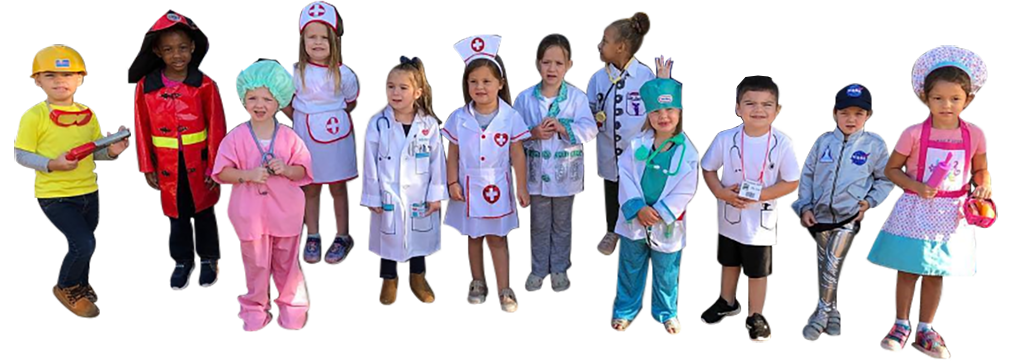 Group of diverse kids wearing their dream job outfit, nurse, doctor , firefighter, engineer, space pilot at a Christian Preschool & Daycare Serving Loganville, GA