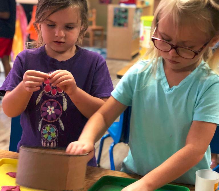 Preschool girls getting busy with their art work at a Christian Preschool & Daycare Serving Loganville, GA