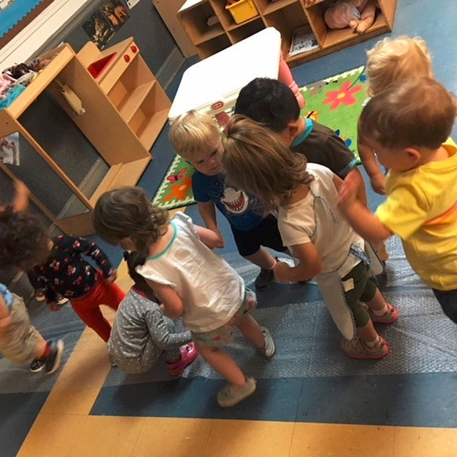 Group of toddlers on their feet playing around at a Christian Preschool & Daycare Serving Loganville, GA