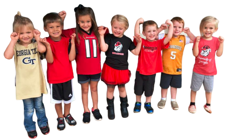 Happy little kids wearing sports outfit at a Christian Preschool & Daycare Serving Loganville, GA